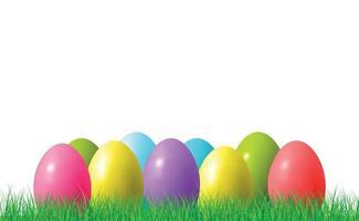 abstracte illustratie van veel veelkleurige eieren met verschillende tinten op groen gras