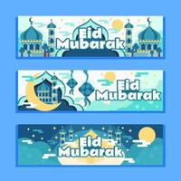 eid mubarak met stille nachtbanner vector