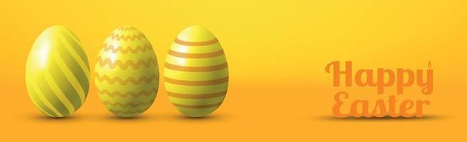 beschilderde eieren op een gele achtergrond met gefeliciteerd met Pasen - vector afbeelding