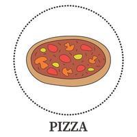 abstracte pizza met pepperoni en verschillende soorten sauzen en kaas - vector