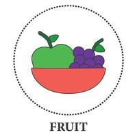 realistische plaat met fruit op een witte achtergrond - vector
