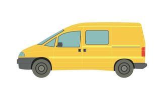 grote gele minivan op witte achtergrond - vector
