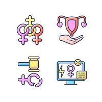 feminisme RGB-kleur iconen set vector