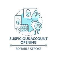 verdachte rekening openen concept pictogram vector