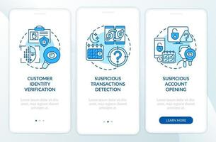 bankbeveiligingsmaatregelen onboarding mobiele app-paginascherm met concepten vector