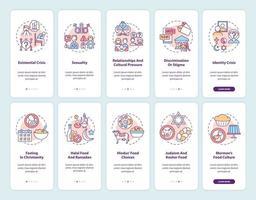 wereldgodsdiensten die het scherm van de mobiele app-pagina met concepten instellen vector
