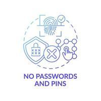 geen wachtwoorden en pinnen concept pictogram vector