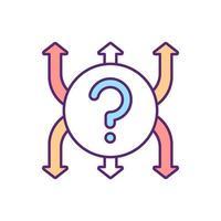 besluit voor richting RGB-kleur pictogram vector