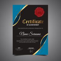 Cool blauwe certificaatsjabloon