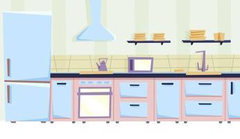 gezellige keuken in vlakke stijl vector