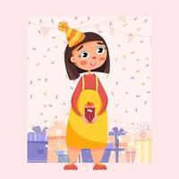 schattig meisje met een cadeau in haar handen vector