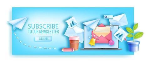 abonneer u op maandelijkse e-mailnieuwsbrief webpagina-achtergrond, laptopscherm, werkplek, papieren vliegtuigje. zakelijke mailmarketingbanner, bestanden, enveloppen, meldingsbel. abonneren nieuwsbrief concept vector