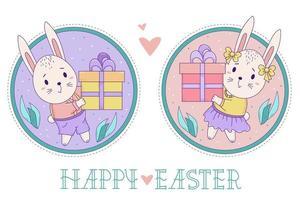 een paar schattige konijnen. paashaasmeisje en jongen met een grote giftdoos op een decoratieve ronde achtergrond met bladeren. vector kleur illustratie. gelukkige pasen-wenskaart