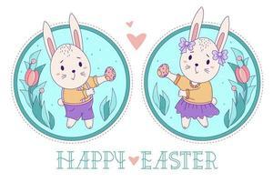 een paar schattige konijnen. paashaasmeisje met strikken en in een rok en een jongen in korte broek met paaseieren op een decoratieve ronde achtergrond met een boeket bloemen. vector. gelukkige pasen-wenskaart