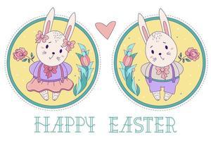 een paar schattige konijnen. paashaasmeisje in een rok en een jongen in korte broek met een roos op een decoratieve ronde achtergrond met een boeket bloemen. vector illustratie. gelukkige pasen-wenskaart
