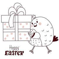 gelukkige pasen decoratieve kaart. Pasen schattige kip met grote geschenkdoos met lint. vector tekening, lijn. grappige schets voor felicitaties voor ontwerp, decor, print, kerstkaarten en banners