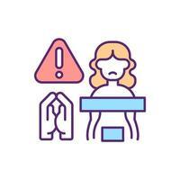 religieuze druk op vrouwelijke seksualiteit RGB-kleur icoon vector