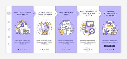 online medicijnen kopen tips onboarding vector sjabloon