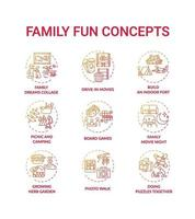 familie plezier concept pictogrammen instellen vector