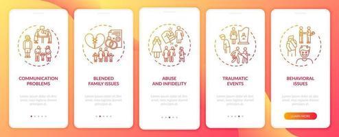 online typen gezinstherapie onboarding mobiele app-paginascherm met concepten vector