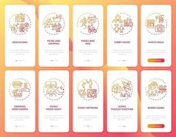 familieplezier onboarding mobiele app paginascherm met concepten ingesteld vector