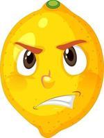 citroen stripfiguur met een boze gezichtsuitdrukking op een witte achtergrond
