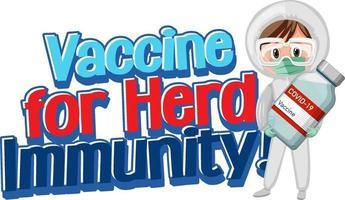 vaccin voor kudde-immuniteitslettertype met een arts die covid-19-fles vasthoudt vector