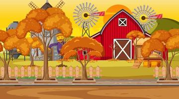 lege boerderijscène in zonsondergangtijd met rode schuur en windmolen