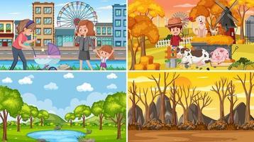 vier verschillende scènes met kinderen stripfiguur