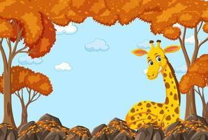 giraffe stripfiguur in lege herfst bosscène