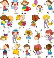 set van verschillende kinderen in doodle stijl vector