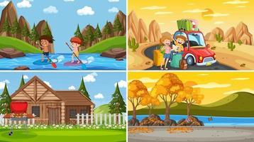 set van verschillende natuurtaferelen cartoon stijl vector