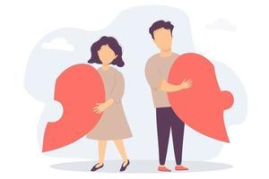 de man en de vrouw gingen uit elkaar. ieder heeft een half hart in zijn handen. demonteerde de hartvormige puzzel. vecton vlakke afbeelding. het concept van het verbreken van relaties en gezin, crisis en echtscheiding vector