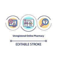 niet-geregistreerde online apotheek concept pictogram vector