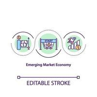 opkomende markteconomie concept pictogram vector