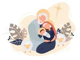 vrolijk kerstfeest. de geboorte van de babyverlosser Jezus Christus. Maagd Maria en Jozef heilige familie, ster van Bethlehem en schapen op een roze achtergrond met tropische bladeren en decor. vector illustratie
