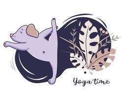 yoga huisdieren. een schattige puppy houdt zich bezig met fitness, staat in een asana en strekt zich uit. vectorillustratie op een decoratieve blauwe achtergrond met tropische bladeren en decor. yoga hobby en tijd concept vector