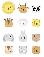 schattige eenvoudige dierenportretten. set kleur dierenportretten - schapen, koe, leeuw en tijger, panda en hert, haas en beer, hond en kat. voor kinderdecoratie, bedrukking, textiel. vector illustratie