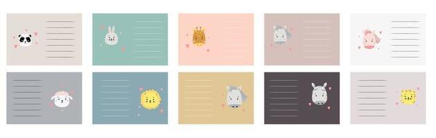set van schattige dierengezichten. kleurrijke kaarten, stickers met verschillende dieren en een plek om in scandinavische stijl te schrijven. panda en haas, zebra en eenhoorn, leeuw en tijger. vector. kinder decor vector