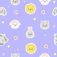 naadloze patronen. kids collectie. schattige dierenstickers - leeuw, hond en konijn, haas en schapen, kat en paard op een blauwe achtergrond met hartjes. voor design, textiel, verpakkingen en behang. vector