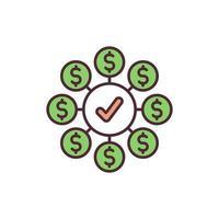 wettelijk inkomen RGB-kleur pictogram vector