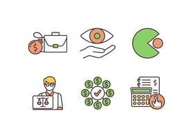 corporate law rgb kleur iconen set vector