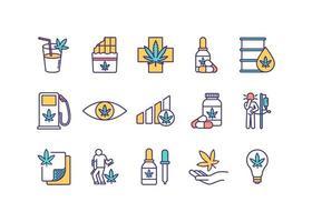 cannabis consumptie rgb kleur iconen set