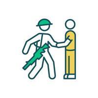 militaire maatschappelijk werker RGB-kleur pictogram vector