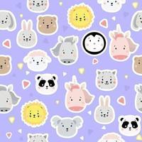 naadloze patronen. kids collectie. schattige dierenstickers - beer, leeuw en pinguïn, eenhoorn en konijn, haas en schapen, kat, paard, koala en panda op een blauwe achtergrond met hartjes. vector