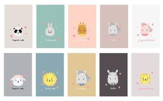 schattige eenvoudige dierenportretten. een set kaarten met schattige dieren en citaten. grappige tekeningen van dieren - panda en giraf, haas en schapen, paard en eenhoorn, leeuw, tijger en zebra. vector illustratie
