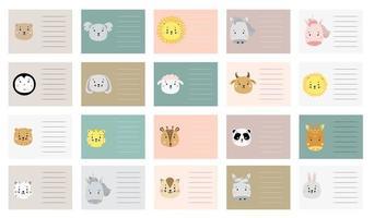 kinderplanner met schattige dieren. kaartsjablonen. cadeaukaartjes instellen. creatieve print met leeuw en eenhoorn, giraf en panda, koala, paard en beer, hert en pinguïn, schaap, hond, kat en zebra, haas. vector
