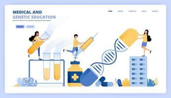 leren illustraties voor moderne genetica, chemie en gezondheid. mensen onderzoeken medicijnen, dna, medische ondersteuning. kan worden gebruikt voor bestemmingspagina-sjabloon ui ux web mobiele app poster banner website flyer-advertenties vector