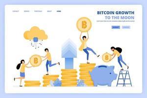 mensen raken in paniek bij het investeren door bitcoin te kopen om elk jaar een hoger investeringsrendement in cryptocurrency te krijgen. kan worden gebruikt voor bestemmingspagina-sjabloon ui ux web mobiele app poster banner website flyer-advertenties