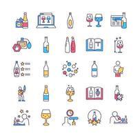 alcohol proeverij rgb kleur iconen set vector
